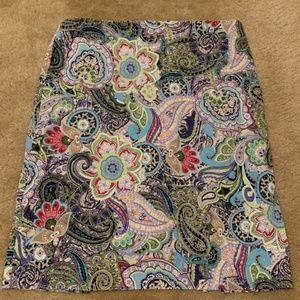 Talbots Paisley Print Pencil Skirt sz 14